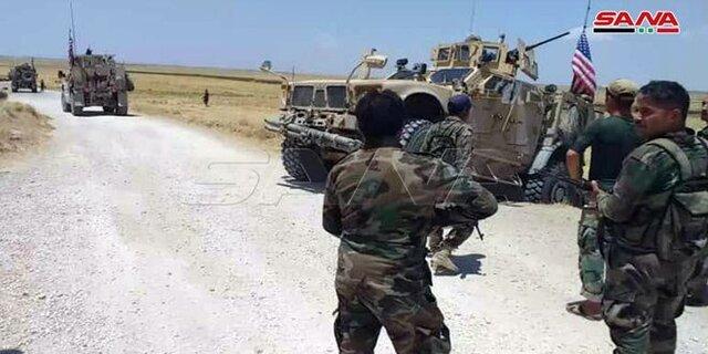 ارتش سوریه جلوی عبور خودروهای نیروهای آمریکا را در حومه الحسکه گرفت
