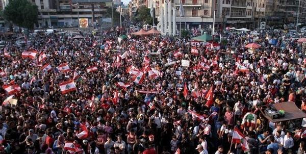 تظاهرات مردم لبنان در برابر پارلمان این کشور