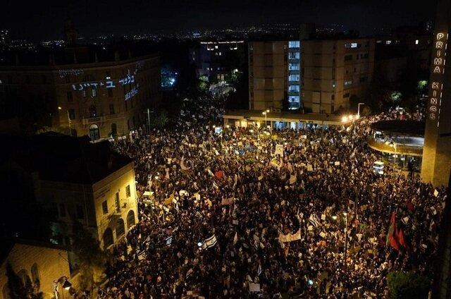 تظاهرات ده ها هزار نفری اسرائیلی ها علیه نتانیاهو در قدس اشغالی
