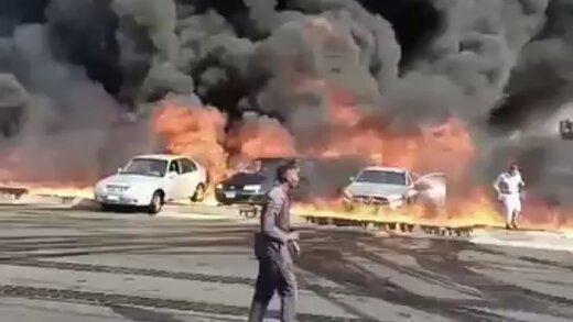 ببینید | تصاویری از آتش سوزی مهیب در بازار شهر «عجمان» در امارات