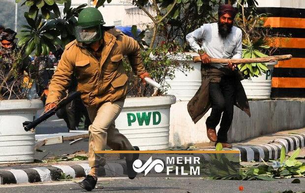درگیری پلیس هند با کشاورزان