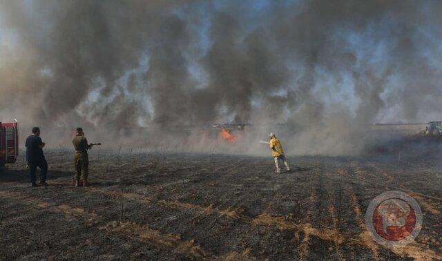 آتشسوزی در عسقلان پس از سقوط بالنهای آتشزا از غزه
