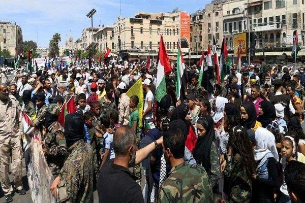 راهپیمایی گسترده مردم سوریه به مناسبت «روز جهانی قدس»