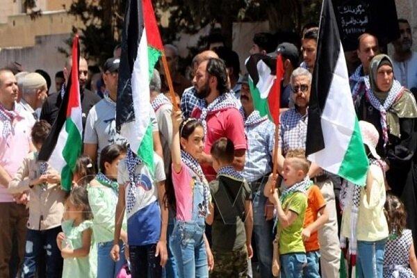 تظاهرات مردم سوریه در حمایت از فلسطینیان