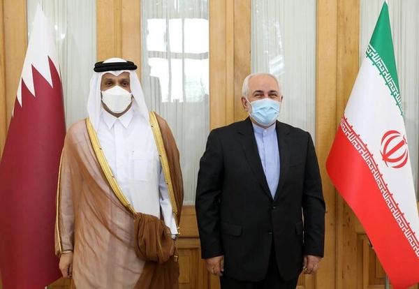 ظریف با وزیر امور خارجه قطر دیدار کرد + فیلم