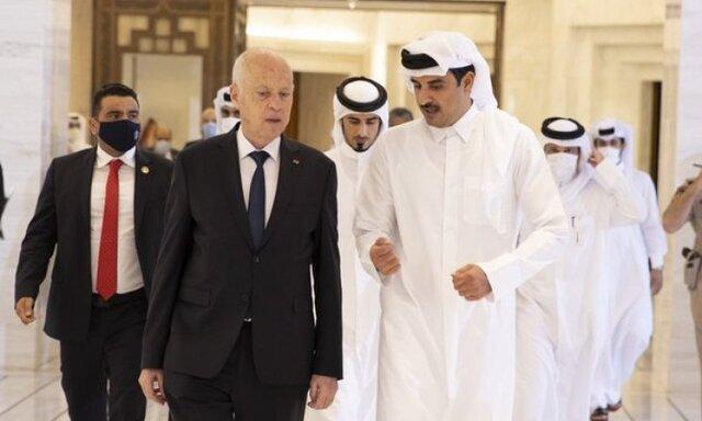 امیر قطر با قیس سعید بحران سیاسی تونس را بررسی کرد